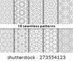 set of black and white seamless ... | Shutterstock .eps vector #273554123