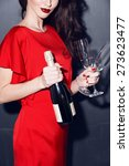 brunette in red dress with... | Shutterstock . vector #273623477