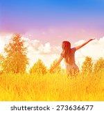happy free woman enjoying... | Shutterstock . vector #273636677