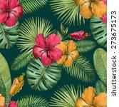watercolor seamless tropical... | Shutterstock . vector #273675173
