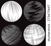 white striped spheres on black... | Shutterstock .eps vector #273675647