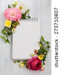 blank notepad and flowers over... | Shutterstock . vector #273710807