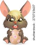 nice rabbit with easter egg on... | Shutterstock .eps vector #273715637