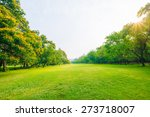 trees in a park with green lawn ... | Shutterstock . vector #273718007