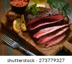 steak with herbs and beer on a... | Shutterstock . vector #273779327