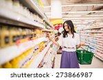 vietnamese young lady choosing... | Shutterstock . vector #273866987