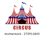 vintage red striped circus tent ... | Shutterstock .eps vector #273911843