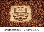 Small photo of Fair Trade graphic against coffee beans with rectangular indent for copy space