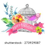 watercolor flowers and bird... | Shutterstock .eps vector #273929087
