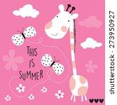 cute giraffe with butterflies... | Shutterstock .eps vector #273950927
