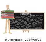 Small photo of Mannequin school books: Stereotype Black Board on Easel (Nerd, Cutter, Metrosexual, Wall Flower, Geek, Pothead, Snob, Thug, Ghetto, Outcast, Acid Head, Social Deviant, Tranny, Artsy, Skater)