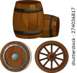 Wooden Barrel  Wheel And Shield