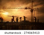 construction site at sunset | Shutterstock . vector #274065413