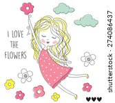 Flower Girl Vector Illustration