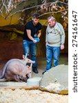 Small photo of PRAGUE, CZECH REPUBLIC, JANUARY 30, 2015: pair of keepers is feeding an aardvark in the prague zoo.
