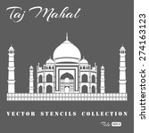 stencil of the taj mahal on a... | Shutterstock .eps vector #274163123