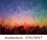 abstract sunset brush strokes... | Shutterstock . vector #274170917