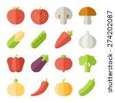 vegetable flat icons | Shutterstock .eps vector #274202087