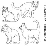 vector outline sketches of four ... | Shutterstock .eps vector #274339847