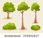 tree set   vector illustration