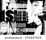 fashion girl in sketch style.... | Shutterstock .eps vector #274347023