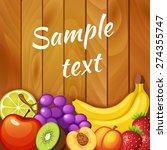 fresh fruits on wooden texture. ...   Shutterstock .eps vector #274355747