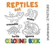 Set Of Funny Crocodile  Turtle...