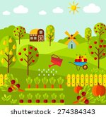 rural landscape with organic... | Shutterstock .eps vector #274384343