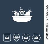 fruit basket icon on flat ui...
