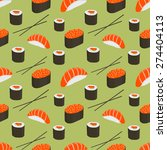 seamless pattern with sushi and ... | Shutterstock .eps vector #274404113