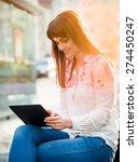 young beautiful woman sitting... | Shutterstock . vector #274450247
