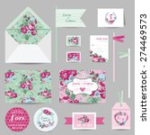 set of wedding stationary  ... | Shutterstock .eps vector #274469573