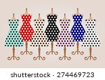 set of 7 old retro pin up cute... | Shutterstock .eps vector #274469723