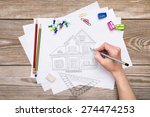 hand drawing house on a wooden... | Shutterstock . vector #274474253