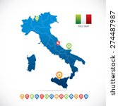 italy map with navigation icons | Shutterstock .eps vector #274487987