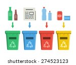 different colored recycle bins  ... | Shutterstock .eps vector #274523123