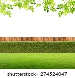 fence and green grass on... | Shutterstock . vector #274524047