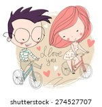 girl and boy biking. love card.