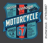 vintage motorcycle embroidery... | Shutterstock .eps vector #274563887