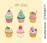 vector set of yummy cupcakes.... | Shutterstock .eps vector #274568477