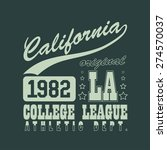 california t shirt typography... | Shutterstock .eps vector #274570037