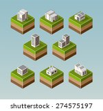 set isometric houses with