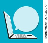laptop with blank bubble speech ... | Shutterstock .eps vector #274602977