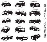 set of fifteen black cars... | Shutterstock .eps vector #274616213