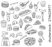 doodle icon fast food ... | Shutterstock .eps vector #274623977