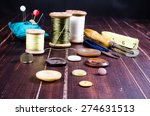 vintage set of sewing tool with ... | Shutterstock . vector #274631513