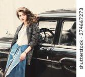 retro glamor girl near vintage...   Shutterstock . vector #274667273