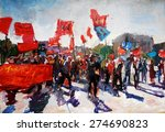 oil painting  rally on the... | Shutterstock . vector #274690823