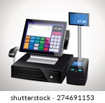 cash register with bar code... | Shutterstock .eps vector #274691153