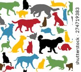 Stock vector seamless background with colorful cats and dogs silhouettes 274719383